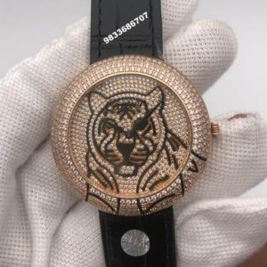 Cartier Panther Face Rose Gold Diamonds Women's Watch