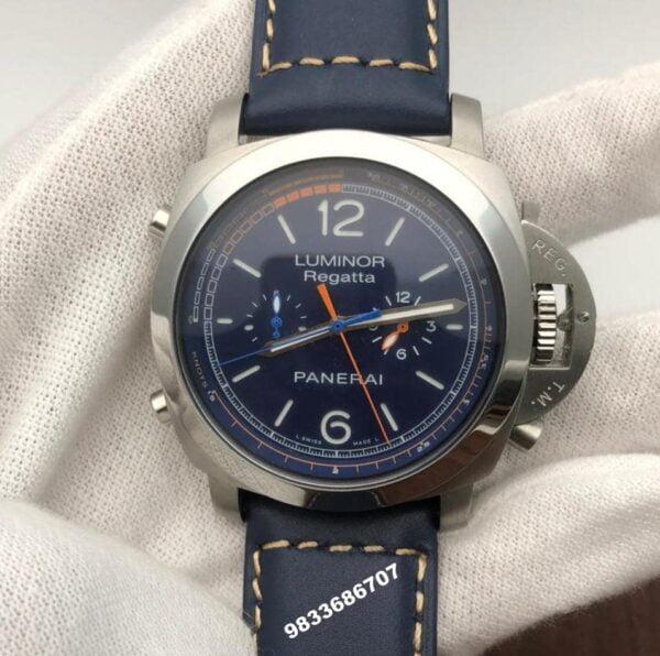 Luminor Panerai Regatta Blue Leather Strap Swiss Automatic Watch