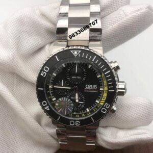 Oris Aquis Depth Gauge Chronograph Black Dial Men's Watch