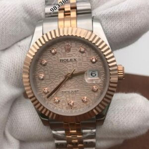 Rolex Date-Just Diamond Marker Dual Tone Rose Gold Dial Swiss Automatic Watch