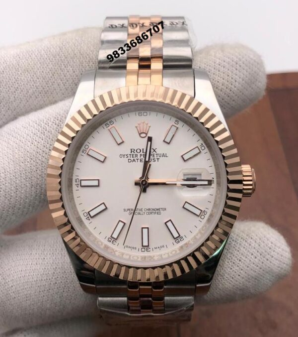 Rolex Date Just Dual Tone White Dial Swiss Automatic Watch