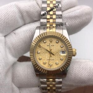 Rolex Date-Just Gold Dial Dual Tone Swiss Automatic Women's Watch